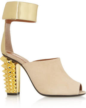 Fendi Metallic Leather And Suede Sandals - Neutral