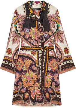 Etro Printed Satin-jacquard Dress - Yellow