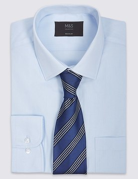 Marks and Spencer Easy To Iron Regular Fit Shirt with Tie