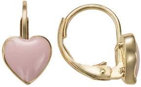 Junior Jewels 18k Gold Plated Pink Enamel Heart Drop Earrings - Kids