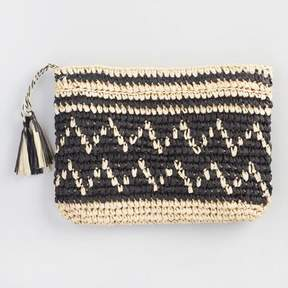 World Market Beige and Black Straw Clutch