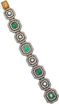 Vintage Green Emerald And Diamond Bracelet