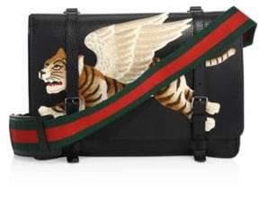 Gucci Leather Messenger Bag with Tiger Applique