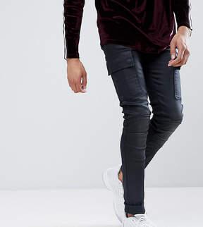 Asos TALL Super Skinny Biker Jeans In Blue Black Coated