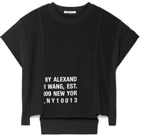 Alexander Wang Printed Waffle-knit Cotton-jersey T-shirt - Black