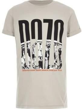 River Island Boys stone 'daze' city print T-shirt