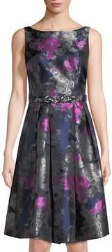 Eliza J Floral-Jacquard Belted Mini Dress