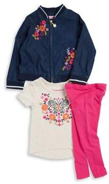 Flapdoodles Little Girl's Three-Piece Cotton Jacket, Butterfly Tee and Leggings Set