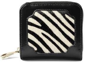 Aspinal of London Marylebone Mini Purse In Zebra Haircalf Black Polish