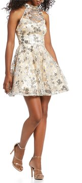 B. Darlin Sequin Embellished Fit-And-Flare Dress