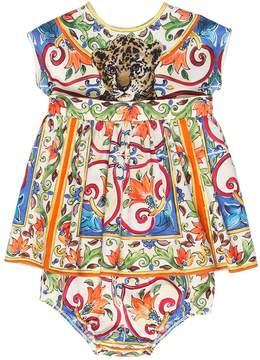 Dolce & Gabbana Maiolica & Leopard Poplin & Jersey Dress