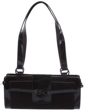 Stuart Weitzman Patent Leather-Trimmed Suede Shoulder Bag