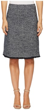 Ellen Tracy Tweed A-Line Skirt with Fringe Trim Women's Skirt