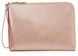 Neiman Marcus Everything Saffiano Zip Wristlet Wallet