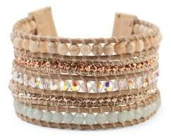 Chan Luu Swarovski Crystal, Multi-Stone and Sterling Silver Wrap Bracelet