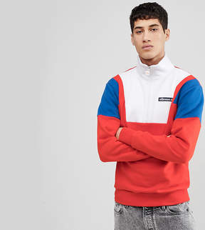 Ellesse Color Block 1/2 Zip Sweatshirt In Red