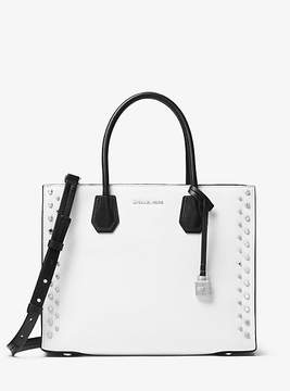 Michael Kors Mercer Large Studded Leather Tote - WHITE - STYLE