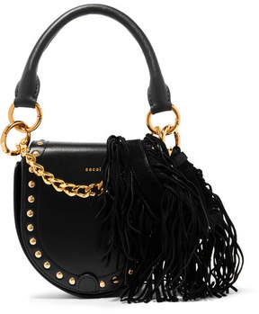 Sacai Horseshoe Small Suede-trimmed Studded Leather Shoulder Bag - Black