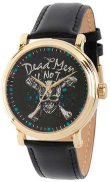 Disney Pirates of the Caribbean Dead Men Tell No Tales Goldtone Black Leather Strap Watch