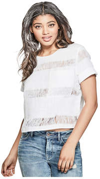 GUESS Cameo Woven Keyhole Top