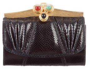 Judith Leiber Embossed Leather Embellished Wallet
