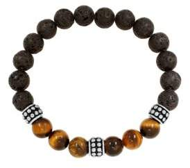 Lord & Taylor Stainless Steel Lava, Tiger Eye Bead Bracelet