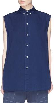 Bassike Button cutout yoke sleeveless denim shirt