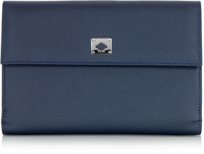 Pineider City Chic Blue Leather French Purse Wallet