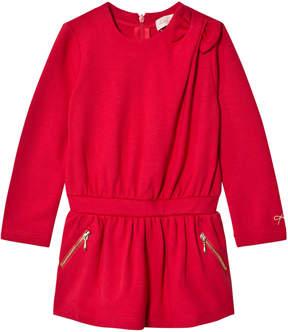 Lili Gaufrette Red Jersey Zip Pocket Dress