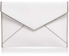 Rebecca Minkoff Leo Saffiano Leather Clutch - BIANCO/SILVER - STYLE