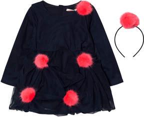 Billieblush Navy Tulle Pom Pom and Headband Dress