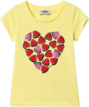 Moschino Yellow Heart Print Tee