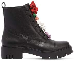 Katy Perry 50mm Bliss Flower Leather Combat Boots