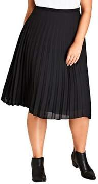 City Chic Plus Pleated Knee-Length Skirt