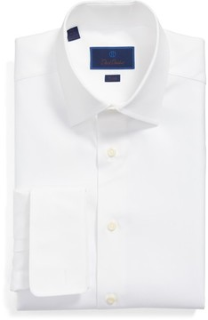 David Donahue Men's Trim Fit Solid French Cuff Dress Shirt