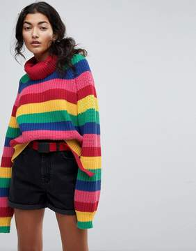 Lazy Oaf Roll Neck Knitted Sweater In Rainbow Stripe