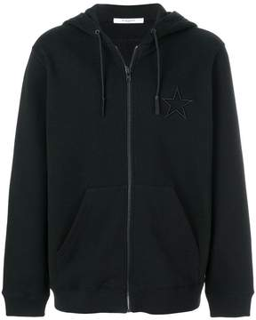 Givenchy star embroidered zip hoodie