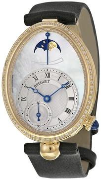 Breguet Reine de Naples Mother of Pearl Dial 18kt Yellow Gold Diamond Black Satin Ladies Watch 8908BA52864D00D