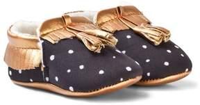 Catimini Black Spot and Rose Gold Tassle Crib Shoes