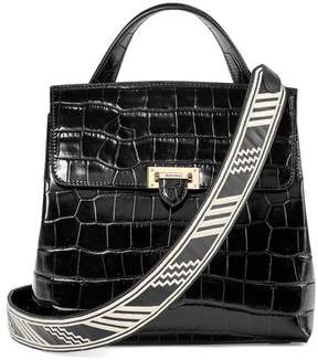 Aspinal of London Soho Backpack In Deep Shine Black Croc With Deco Embroidered Strap