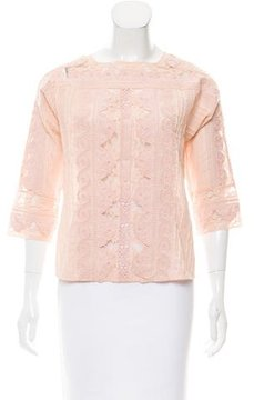 Vanessa Bruno Lace-Accented Long Sleeve Top