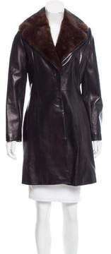 Andrew Marc Mink-Accented Leather Coat