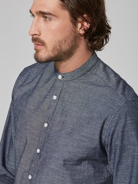 Frank and Oak Slub-Cotton Band Collar Shirt in Navy