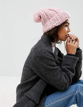 Asos Extra Chunky Beanie with Self Knitted Pom