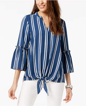 Alfani Striped Tie-Front Blouse, Created for Macy's