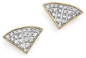 Adina 14K Yellow Gold Pavé Diamond Folded Fan Stud Earrings