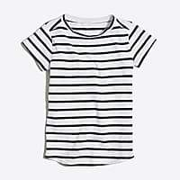J.Crew Factory Girls' striped shirttail-hem T-shirt