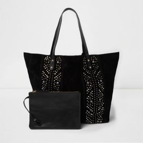 River Island Womens Black suede studded tote bag