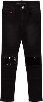 Ikks Black Sequin Panelled Skinny Jeans