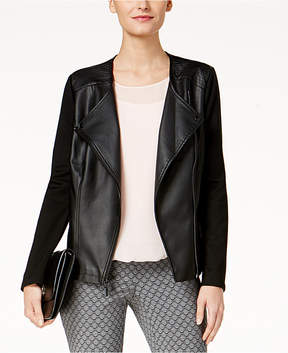 Alfani Faux-Leather Knit-Sleeve Moto Jacket, Created for Macy's